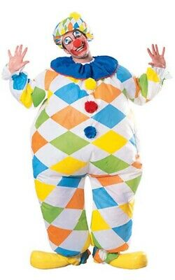 CA247 Clown Adult Fancy Dress Circus Carnival Costume Funny Dress Up Outfit Wig