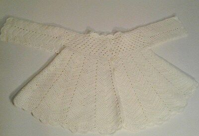 Vintage Girls Handmade White Baby Sweater Long sleeve 4 button scallop edge EUC