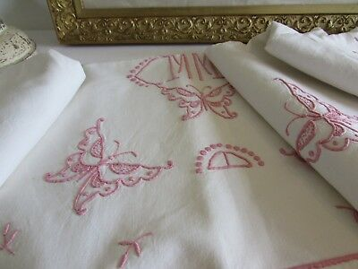 Vintage French heavy metis, linen sheet.  Butterflies and pink monogramme MM
