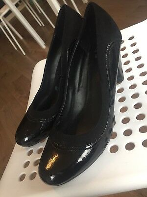 Clarks Wide Fit Ladies Heels Shoes Black Uk 6.5 Worn Once Patent Leather