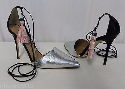cb81754b95b J CREW ROXIE Crackled Leather Ankle-Tie Pumps Tassel Laces Silver 8.5 C0705  -  152.99