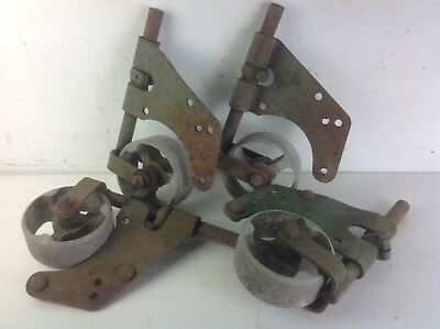 4 industrial alloy wheels steel bracket casters vintage furniture restoration