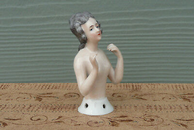 Antique Porcelain Arms Away Pincushion Nude Half Doll Germany Dressel & Kister ?