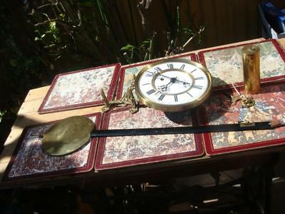 Antique Clock Part  Movement With Pendulum For Restoration Spare / Repair