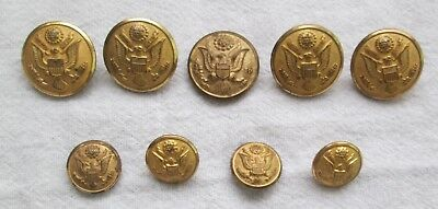 Lot of Nine WW II Brass Dome Eagle Shank Uniform Buttons (5 large, 4 small)