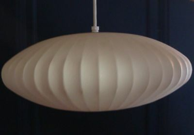 Mid Century Modernica George Nelson White Polymer Saucer Bubble Pendant Lamp