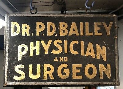 ORIGINAL Antique C.1880s 2 Sided Hand Painted SMALTZ Medical SURGEON Trade Sign