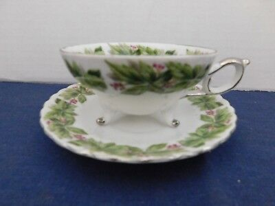 Trimont Wear China / Japan Three Footed Cup With Saucer Green W/ Red Berries