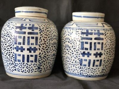 Large Pair GINGER JAR w/ Lid porcelain Blue Double Happiness Chinese Late 19th C