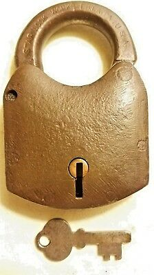 Large Antique STAR LOCK WORKS PADLOCK Iron Lever W/ ORIGINAL KEY Philadelphia PA
