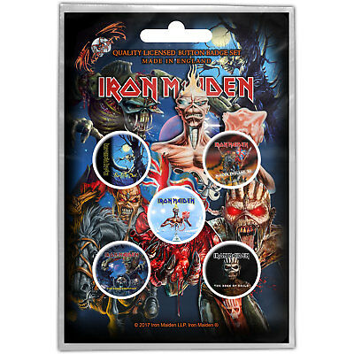 Iron Maiden - Later Albums Pack Of 5 Button Badge Official Product Free Postage
