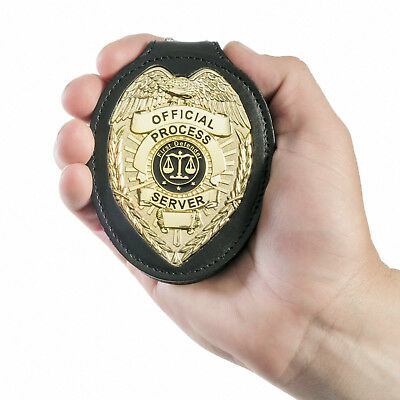 Process Server Badge & Holder. Professional badge to wear on belt or around neck