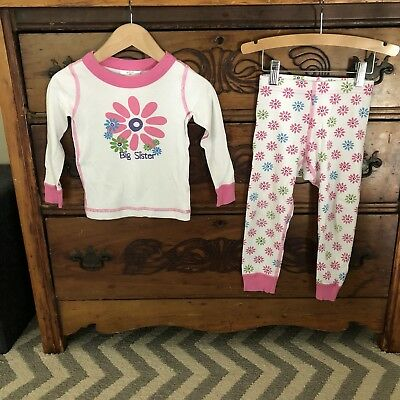 "Hanna Andersson ""Big Sister Sis"" Jams Girls Size 3 90 3T Organic Cotton Pajamas"