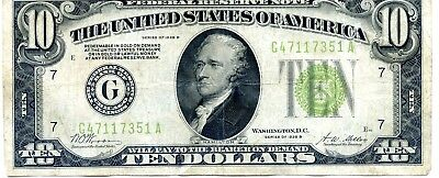 This is a 1928 circulated ten dollar gold certificate (351A)