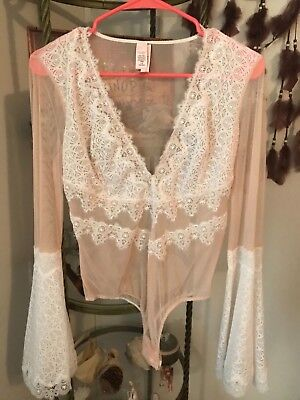 Victoria's Secret Large Lace Bell sleeve Longsleeve Teddy NWT SOLD OUT