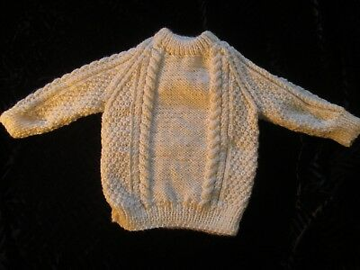 Beautiful Hand Knitted Child's 22 in Chest Aran Jumper 1-2yr old