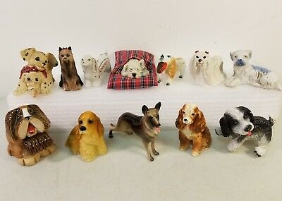 Lot of 12 Vintage Larger Bone China, Ceramic, Resin Dog Figurines. ONLY DOGS