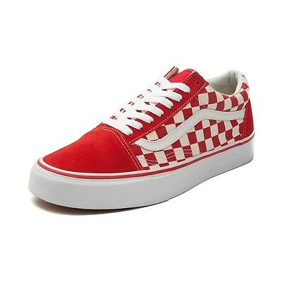 a77a0dd23db NEW VANS OLD Skool Chex Skate Shoe RED White Checkerboard Primary WOMENS -   89.99