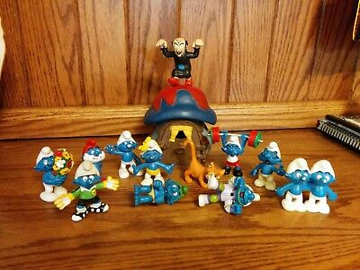 The Smurfs Lot of 13 PVC Figures + Blue Mushroom House *1978* Schleich Peyo