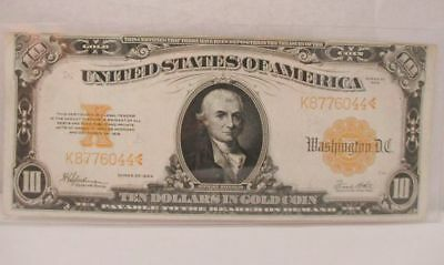 1922 U.S. $10 Dollar Large Size Gold Note Currency FR 1173