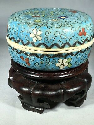 Antique Early 1900's Japanese Porcelain Box With Brass Inlay