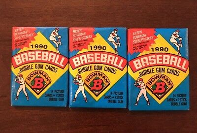 1990 BOWMAN BASEBALL CARDS, Lot of 3 Vintage Unopened NEW Packs. (14 Cards/Pack)