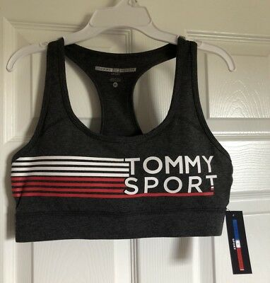 3078a729c5a78 NWT Tommy Hilfiger Sport Women s Lightly Lined Gray Sports Bra Size M