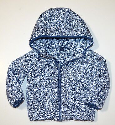 Baby GAP NAvy Floral Quilted Hooded Puffer Jacket Coat Toddler Girl 2T 2 yrs EUC