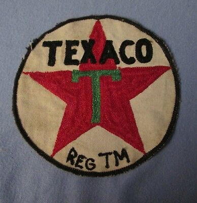 """rare older 6"""" round TEXACO embroidered uniform patch red star w Reg TM   used"""