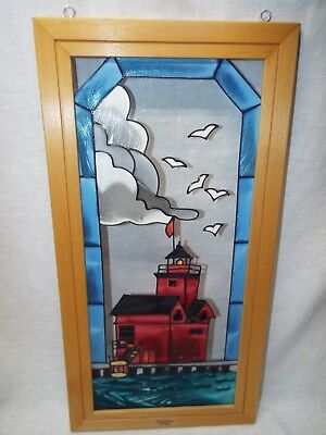 Michigan Holland Light House Stained Glass Window Wall Hanging by Open Windows