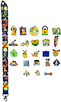 Pluto Themed Starter Lanyard Set w/ 5 Disney Park Trading Pins ~ Brand NEW