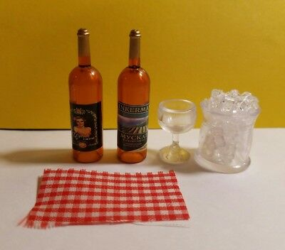 Dollhouse Miniature Set of 4 Pieces 2 Bottle of Wine,1Wine Glass and Ice bucket