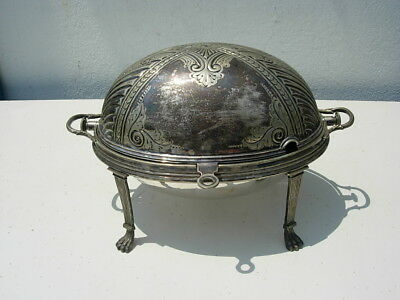 Antique English? Chased Silverplate Chafing Warming Serving Dish