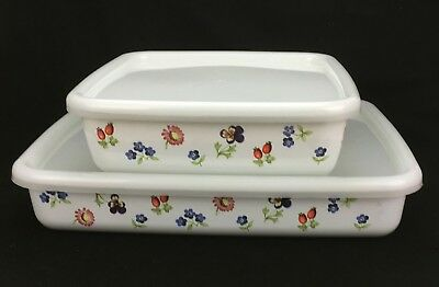 2 Metal Baker/Storage Dishes with Plastic Lids 'PETITE FLEUR' VILLEROY  AND BOCH