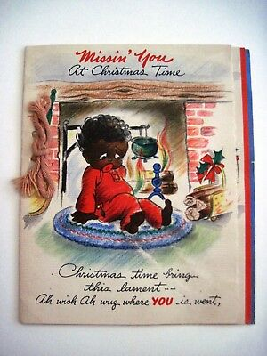 1944 Black Americana Missin' You Christmas Card w/ Adorable Pictures   *