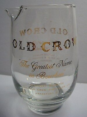 Old Crow - Bourbon Whiskey - Vintage - Mini 14oz Glass Pitcher - Libbey - 1950's