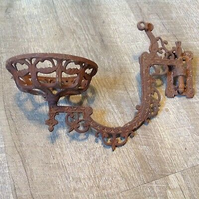 Vintage Antique Cast Iron Ornate Oil Lamp Wall Holder Bracket Victorian