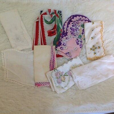 Lot Of 8 Vintage Embroidered And Printed Hankies Napkins Handerkerchiefs Floral