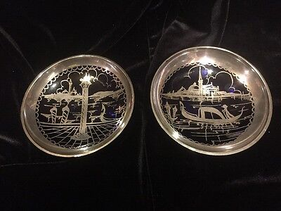 Pair Of Cobalt Small Bowls With Silver Overlay Gondola Scene