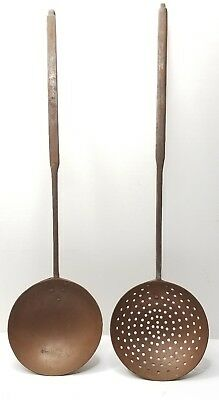 """Antique Wrought Iron & Copper Hearth Ladle & Skimmer Oversized 24"""""""
