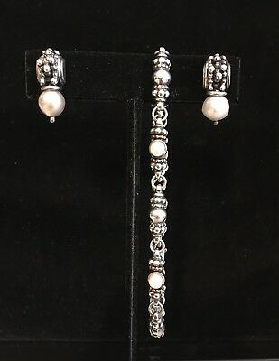 Michael Dawkins Pearl And 925 Silver Bracelet And Post Earrings Set Pre Owned