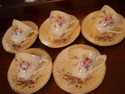 crown ducal florentine  MARIE espresso coffee  cups and saucers set x 5   RARE