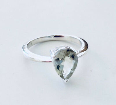 925 Sterling Silver Green Amethyst Ring Teardrop Gemstone Solitaire Claw 6 7 8