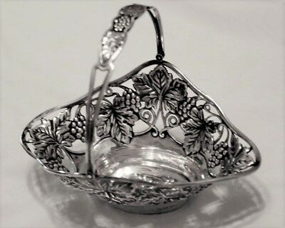 Beautiful Gorham sterling silver repousse grape and leaves basket