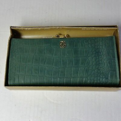 Vintage Lady Buxton Leather French Clutch Folding Purse Wallet New in Box Green
