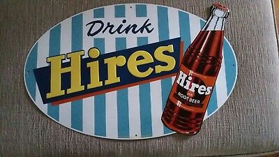 Vtg. Drink HIRES Root Beer Embossed Sign VERY RARE SIGN Stout Sign Co.
