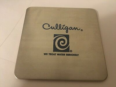 Hey Culligan Man Vintage Advertising Collectable ss coaster with culligan swirl