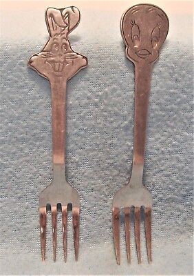 "Lot 2 Vintage Warner Bros 1975 Tweety Bird & Bugs Bunny 5.5"" Baby / Childs Forks"
