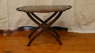 Butlers tray table, polished timber tray with folding stand, used