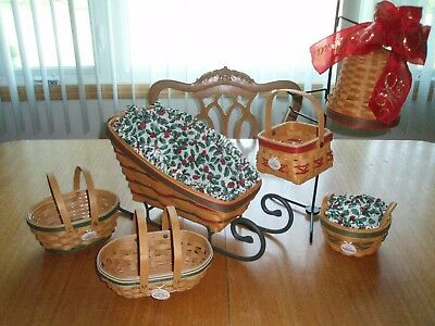 Lot of 6 Longaberger Tree Trimming baskets, Bell basket and wrought iron